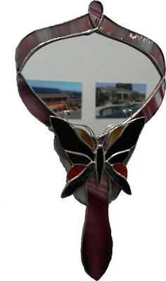 Hand Made Stained Glass Butterfly Hand Mirror