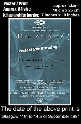 Dire Straits live concert Glasgow 11 to 14 September 1991 A4 size poster print