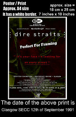 Dire Straits live concert Glasgow SECC 12th September 1991 A4 size poster print
