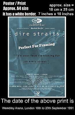 Dire Straits live concert Wembley London 16 to 20 September 1991 A4 poster print