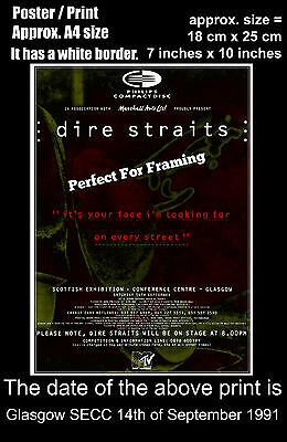 Dire Straits live concert Glasgow SECC 14th September 1991 A4 size poster print