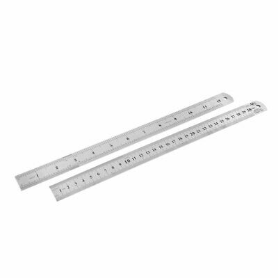 2pcs Dual Side Stainless Steel Straight Edge Ruler Measuring Tool 300mm 12 Inch