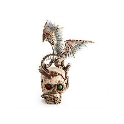 Steampunk Skull with Mechanical Dragon Statue Figurine Tail Gears High Quality