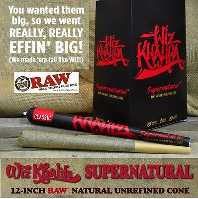 "One Pack SUPERNATURAL Pre Rolled RAW Wiz Khalifa Rolling Paper 12"" LONG CONE"