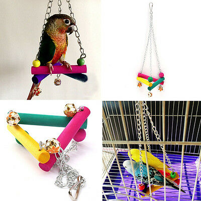Bird Parrot Pet Toy Triangle Wooden Hanging Swing Hammock Budgie Cage Colorful
