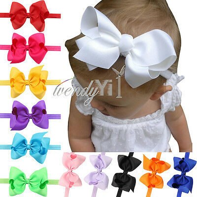 12PCS Kid Baby Girl Infant Stretch Flower Headband Hair Big Bow Band Accessories