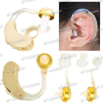 2 X Digital Hearing Aid Adjustable Mini Behind the Ear In Voice Sound Amplifier
