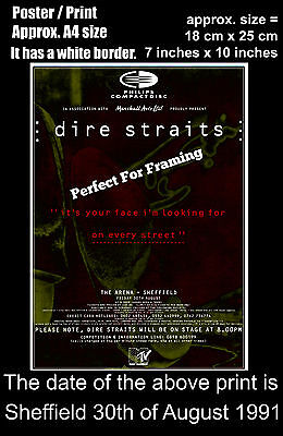 Dire Straits live concert Sheffield Arena 30th August 1991 A4 size poster print