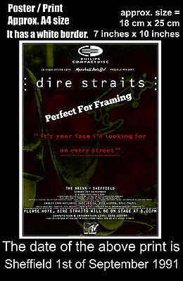 Dire Straits live concert Sheffield Arena 1 September 1991 A4 size poster print
