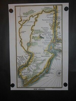 New Jersey 1656 Map Indian Tribes Forts Cities Mountains Lakes Reprint