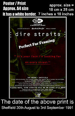 Dire Straits live concert Sheffield 30 August - 3 September 1991 A4 poster print