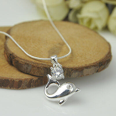 925 Sterling Silver Plated Fashion Women Dolphin Pendant Necklace Chain Jewelry