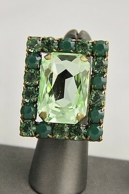 Vintage Frangos Couture Signed Blingy Green Rhinestone Cocktail Ring # 3 /  Sz 6