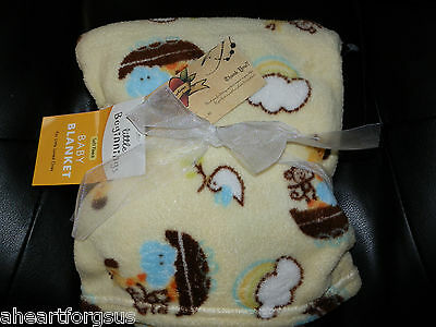 Little Beginnings Baby Blanket Noah's Ark Elephant Monkey Boat Rainbow Yellow