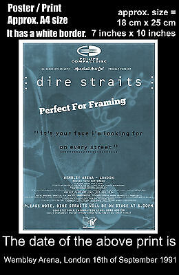 Dire Straits live concert Wembley London 16 September 1991 A4 size poster print
