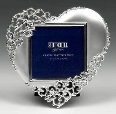 "5"" x 5"" Silver Lace Heart Photo Frame Valentine, Anniversary Present 20233"