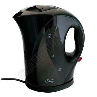 Black 1.7 Litre 2000W Cordless Fast Boil Electric Jug Kettle Washable Filter