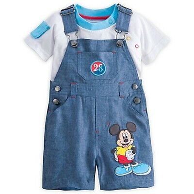 DISNEY STORE MICKEY MOUSE DUNGAREE SET /& LS BODYSUIT 3-D EARS SUPER CUTE DETAIL