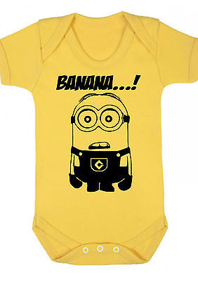BABY BOY,GIRL,MINIONS Yellow bodysuit ,VEST,BABYGROW,GIFT,BABY CLOTHES Minion d1