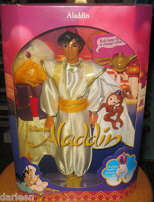 1992 Disney Classic Aladdin doll with Abu Mattel figure