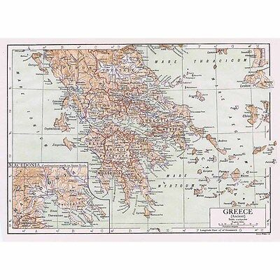 GREECE (Ancient) with inset of Macedonia - Antique Map 1922 by Emery Walker