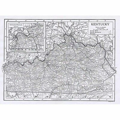 KENTUCKY State Map - Antique Map 1922 by Emery Walker