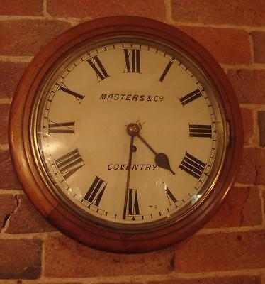 Antique Fusee Wall Clock - Masters & Co Coventry Circa 1890 - Mahogany - Working