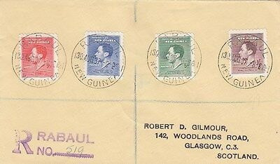 NEW GUINEA:1937 Coronation set on registered  cover to Scotland