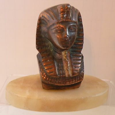 3b106 ANCIENT EGYPT REPRODUCTION BRONZED METAL & ALABASTER KING TUT PAPERWEIGHT