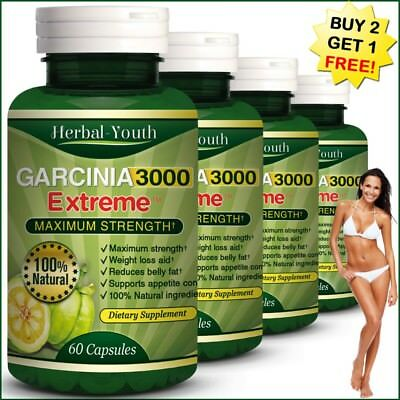 180 GARCINIA CAMBOGIA CAPSULES Ultra Pure 3000mg Daily Slimming Weight Loss Diet