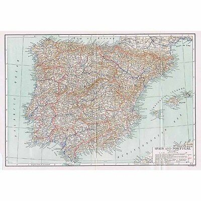 SPAIN and PORTUGAL - Vintage Map 1926 by Emery Walker