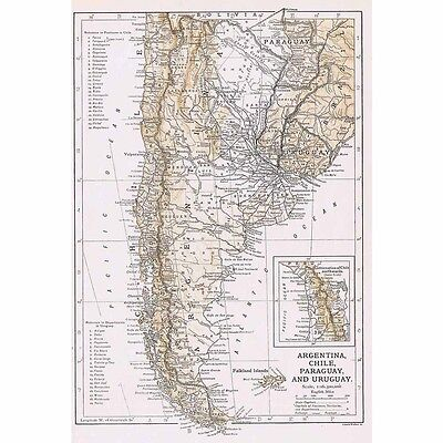 ARGENTINA CHILE PARAGUAY and URUGUAY - Vintage Map 1926 by Emery Walker