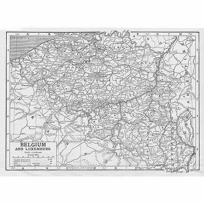 BELGIUM and LUXEMBOURG - Vintage Map 1926 by Emery Walker