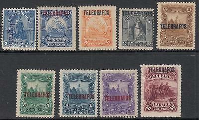 Nicaragua Telegraph Stamps 9 diff MNH/unused stamps 1890s Barefoot cv $20