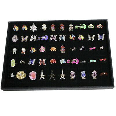 100 Slot Wood Velvet Cufflink Ring Display Storage Tray Box Case Retail Gift