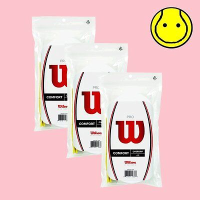 3 x Wilson Pro OverGrip Comfort 30 Pack: White - Total 90  Tennis Over grips