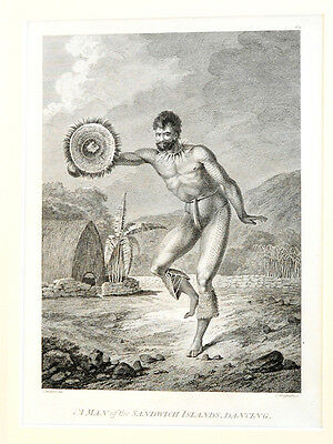 1784 FIRST EDITION John Webber Etching 'A MAN, DANCING' -CAPTAIN COOK Hawaii