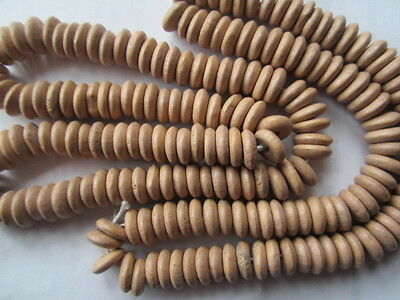 Camel Cream Laquer Wood 8mm Flat Heishi Disk Beads 14""