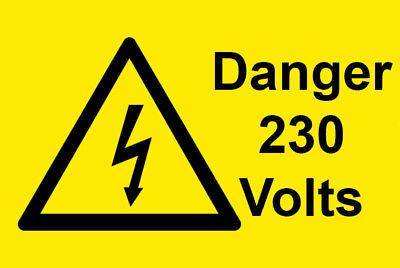50 x Danger 230 Volts Electrical Safety Warning Labels / Stickers. Semi Gloss