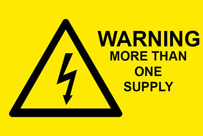 50 x WARNING MORE THAN ONE SUPPLY - Electrical Safety Warning Labels / Stickers