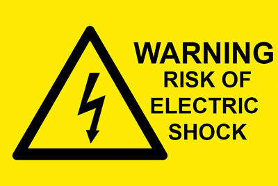 WARNING RISK OF ELECTRIC SHOCK - Electrical Safety Warning Labels / Stickers