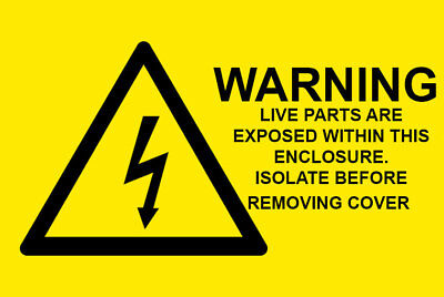 50 x WARNING LIVE PARTS ARE EXPOSED -Electrical Safety Warning Labels / Stickers