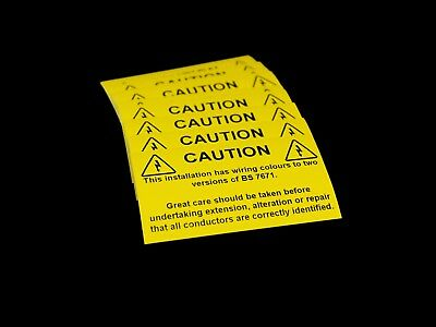 Wiring Colours To Two Versions of BS 7671 - Electrical Warning Labels / Stickers