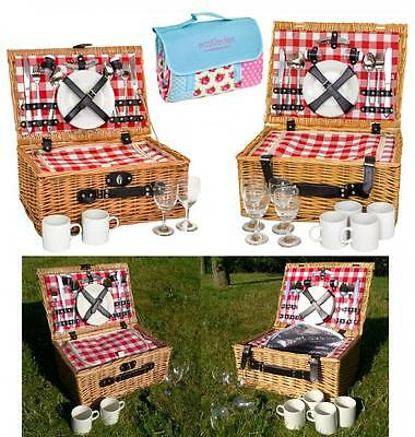e2e Vintage Gingham Full Wicker 2 or 4 Person Fitted Picnic Hamper Basket