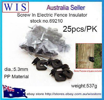 25/PK Ring Insulators Electric Fence Energiser Screw In for Wooden Posts Wire