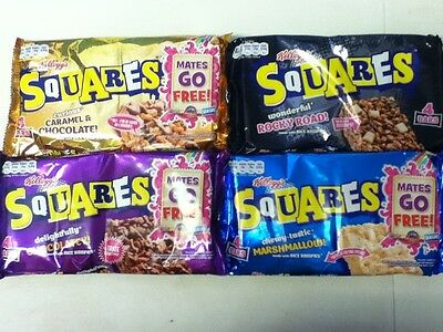 Pack 4 Kellogg's Squares - Various Flavours - U.k Seller - Post Worldwide
