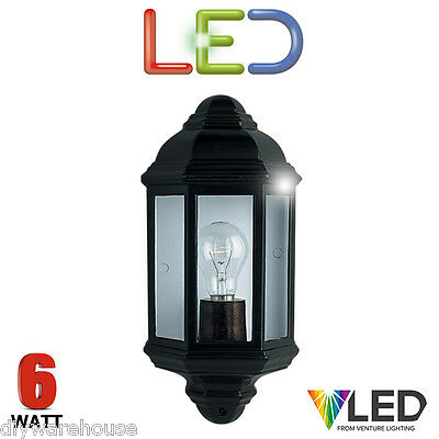 Searchlight 280 Led Half Wall Lantern 6 Watt Black Die Cast Ip44 Outside Quality