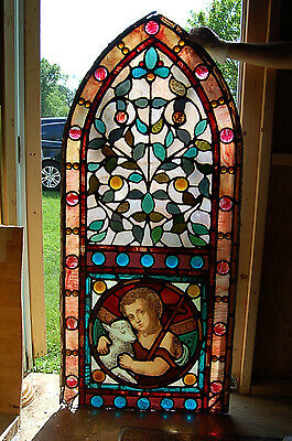 "+ Nice Vintage Antique Stained Glass Window + ""St. John Baptist"" + chalice co."