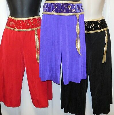 NWT Asian Inspired Gold Gilded drop waist Crop Dance Costume Pants 3 Colors ch/A