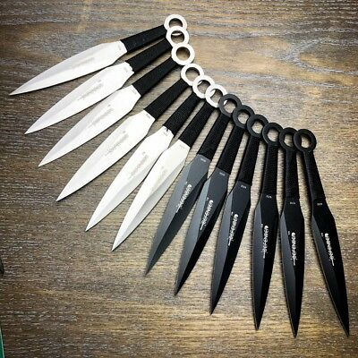 "12 Pc 6"" Ninja Tactical Combat Naruto Kunai Throwing Knife Set Hunting w/ Sheath"